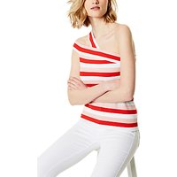 Karen Millen Asymmetric Neck Top, Red/Multi