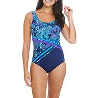 Zoggs Dark Oriental Crossfront Scoopback Swimsuit, Navy/Aqua/Purple