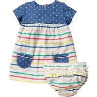 Mini Boden Baby Hotch Potch Stripe Dress and Knickers Set, Multi