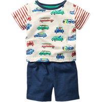 Mini Boden Baby Van Print Top And Shorts Set, Multi