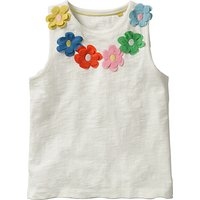 Mini Boden Girls' Flower Power Vest Top, White