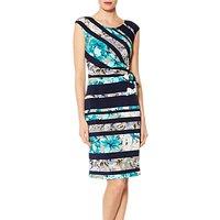 Gina Bacconi Cosmina Floral Stripe Dress, Navy/Turquoise