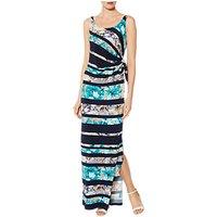 Gina Bacconi Deandra Floral Stripe Maxi Dress, Navy/Turquoise