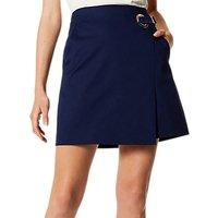 Karen Millen Eyelet Wrap Skirt, Navy
