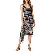 Karen Millen Stripe Asymmetric Hem Dress, Silver/Multi