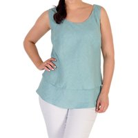 Chesca Linen Layer Cami Top, Aqua