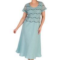 Chesca Linen Flared Floral Lace Dress, Aqua