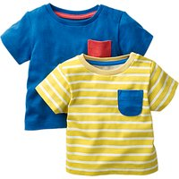 Mini Boden Baby Jersey Chest Pocket T-Shirt, Pack of 2, Yellow