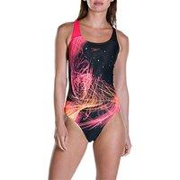 Speedo Heatshine Placement Digital Powerback Swimsuit, Black/post It Pink