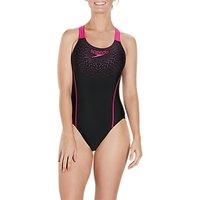 Speedo Gala Logo Medalist Swimsuit, Black/electric Pink