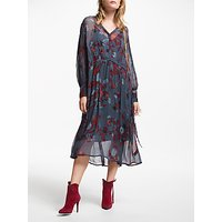 And/or Megan Forest Floral Midi Dress, Red/blue