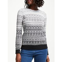 Collection WEEKEND by John Lewis Monochrome Intarsia Jumper, Black/White