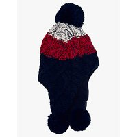 John Lewis Children's Chunky Knit Stripe Trapper Hat, Navy