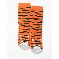 John Lewis & Partners Children's Tiger Slipper Socks, Orange