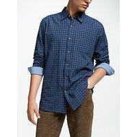John Lewis and Partners Tattersall Cotton Shirt, Blue