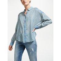 Maison Scotch Dropped Shoulder Print Shirt, Blue