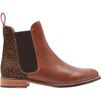 Joules Westbourne Leather Chelsea Boots, Brown/Leopard