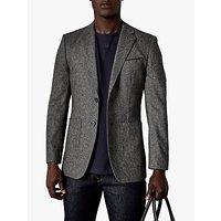 Ted Baker Tankjo Plain Weave Wool Cashmere Blazer, Grey Marl