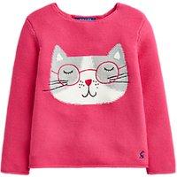 Little Joule Girls' Winnie Cat Jumper, Pink