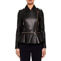 Ted Baker Ahfiraa Leather Biker Jacket, Black