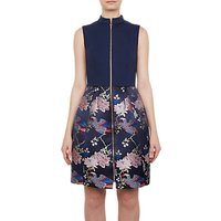 Ted Baker Chinoiserie Jacquard Zipped Dress, Blue