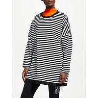 PATTERNITY + John Lewis Oversized Stripe Sweatshirt, Black/White