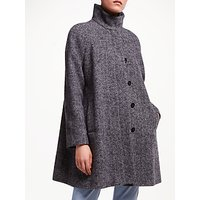 John Lewis & Partners Funnel Neck Swing Coat, Navy Texture