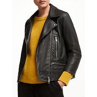John Lewis & Partners Leather Biker Jacket, Black