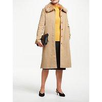 John Lewis & Partners Detachable Fur Wrap Belted Coat