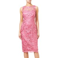 Adrianna Papell Guipure Lace Overlay Midi Dress, Misty Rose