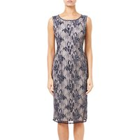 Adrianna Papell Beaded Lace Midi Dress, Midnight/Silver