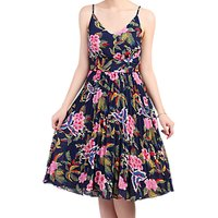 Jolie Moi Floral Pleated Dress, Navy