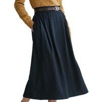 Toast Herringbone Wool Cotton Blend Skirt, Navy