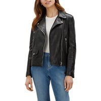 Jaeger Leather Biker Jacket, Black at John Lewis & Partners Department Store