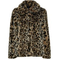 Selected Femme Faux Fur Leopard Print Coat, Black Leopard
