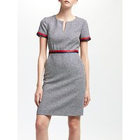 Boden Adelaide Tweed Dress, Navy/Ivory/Dogtooth