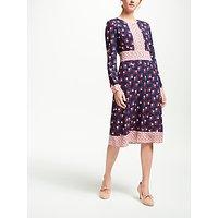 Boden Daisy Conker Dress, Navy/Red