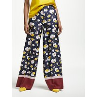 Boden Weybourne Wide leg Trousers, Navy Painted Peony