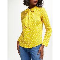 Boden Tie Neck Spot Shirt, Yellow