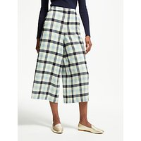 Boden Tweed Check Culotte Trousers, Ivory Navy Breeze