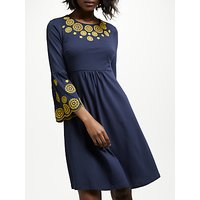 Boden Emilia Embroidered Dress, Navy
