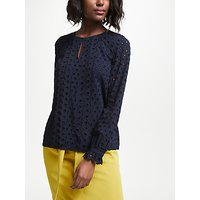 Boden Scallop Broderie Top, French Navy