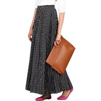 Jolie Moi Pleated Polka Dot Maxi Skirt, Black
