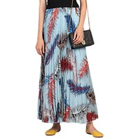 Jolie Moi Pleated Feather Maxi Skirt, Blue Multi