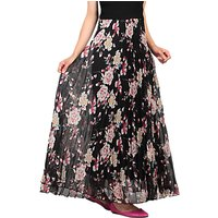 Jolie Moi Pleated Floral Maxi Skirt, Black