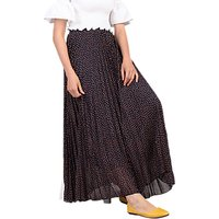 Jolie Moi Pleated Star Maxi Skirt, Navy