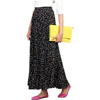 Jolie Moi Pleated Pattern Maxi Skirt, Black