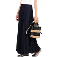 Jolie Moi Pleated Maxi Skirt, Navy