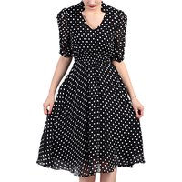 Jolie Moi Retro Tea Dress, Black/Red