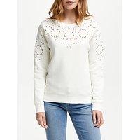Boden Arabella Broderie Sweatshirt, Ivory